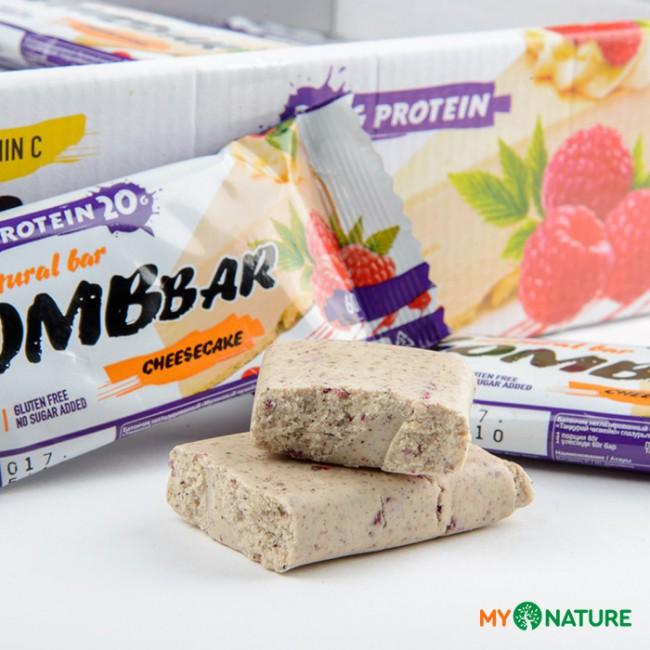 Батончик протеиновый Bombbar малиновый чизкейк, 60 г